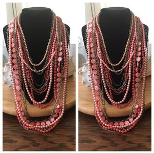 """Vintage Bead Necklace, layers of Pinks. 28"""""""